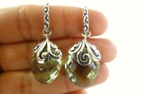 Green Amethyst Prasiolite Vermarine 925 Sterling Silver Dangle Drop Earrings