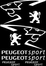 Kit de 8 Sticker Autocollant  Peugeot Sport 206 207 306 307 Blanc p02
