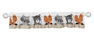 BEDTIME ORIGINALS Acorn Window Valance Forest Raccoon Fox Bear White/Beige/Gray