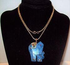 Vtg Carved Blue Lapis Lazuli Elephant Necklace Red Rhinestone Saddle Good Luck