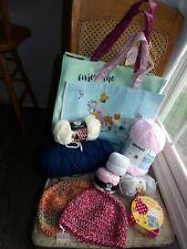 Joann Fabrics Knitting Blue Ivory White Pink Grey Yarn Totes Samples