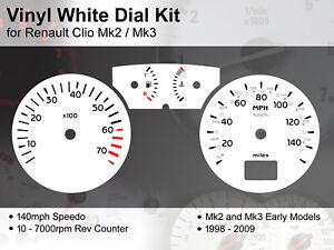 Renault Clio Mk2 / Mk3 (1998 - 2009) - 140mph / 7000rpm - Vinyl White Dial Kit