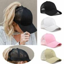 Solid Ponytail Baseball Cap Women Mesh Bun Baseball Hat Snapback Sun Sport Caps