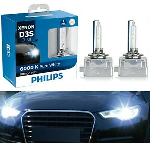 Philips Ultinon HID Xenon D3S 6000K White Two Bulbs Head Light Replace Bi-Xenon