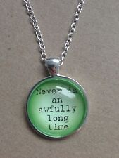 """Peter Pan Quote Green & Silver Plated 18"""" Necklace New in Gift Bag"""