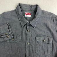 Wrangler Button Up Shirt Mens 2XL Gray Long Sleeve Heavy Woven Cotton Pockets