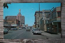 Casper Wyoming Business District Postcard Bank Signs Cars Traffic Buildings