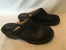 Born Concept BC3079 Women's Shoes Size 9/40.5 Black Leather Slip On Mules Wedge