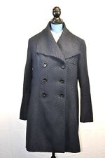 Larry Levine Double Breasted Womens Wool Blend Blue Black Trench Pea Coat Sz 12