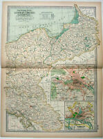 Eastern German Empire: Original 1897 Map by The Century Co. Prussia Silesia