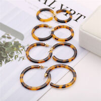 4Pairs Vintage Acrylic Earrings Tortoise Shell Earrings Boho Women Hoop Earrings