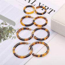 4Pairs Vintage Acrylic Earrings Tortoise Shell Earrings Boho Women Hoop Earrings