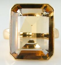 HUGE 9K 9CTGOLDEN CITRINE SINGLE  20mm x 15mm SOLITAIRE ART DECO INS RING