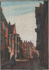 Wilfred Rene Madera (1888-1976) xilografía firmada figuras en inglés Street c1930