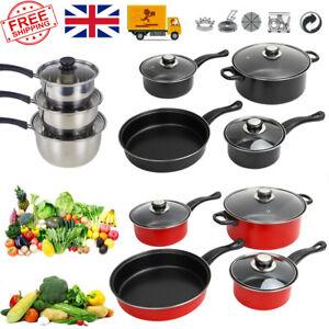 7PC Carbon steel Nonstick Cookware Set Kitchen Pots and Pans set With Glass Lids
