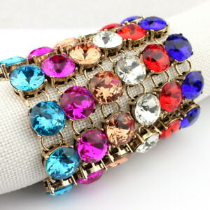Vintage 1.5cm Glass Crystal Women Dot Bracelet Classic Statement Jewelry