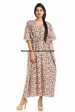 Indian Cotton Kaftan Plus Size Floral Print Summer Dress Long Kaftan Bath Robe