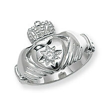 Claddagh Ring Men's Gents Solid Sterling Silver With Cubic Zirconia Size R - W
