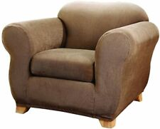 sure fit Stretch Stripe 2 Piece Chair Slipcover Box Cushion brown