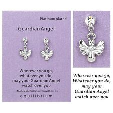 New Equilibrium Platinum Plated Sentiment Earrings - Guardian Angel