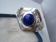 CORGEOUS SOLID STERLING SILVER LAPIS LAZULI CUFF BANGLE BRACELET ADJUSTABLE