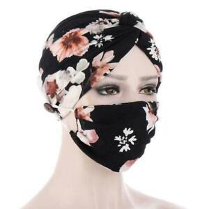 2Pc Printing Women Cotton Turban Hijab Headscarf Cap Chemo Wrap Hat Set Mask