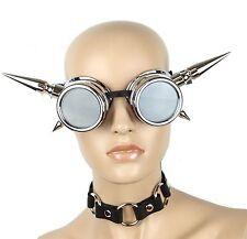 "Steampunk Cyber Goggles 3"" Large Aluminum Spike Punk Goth Rave Club Rockabilly"