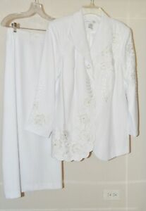2-Piece White Embroidered Beaded Lined Skirt Suit by Justin Taylor Sz 18W