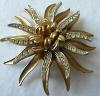 Vintage CORO Flower Brooch Gold Tone Clear Rhinestone Jewelry Pin