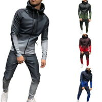 Men Sportwear Set Zipper Hooded Sweatshirt Striped Jacket+Pants Gradient Suit