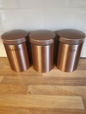Next Home TEA COFFEE SUGAR canisters Copper Rose Gold Metallic Tin Jars set of 3