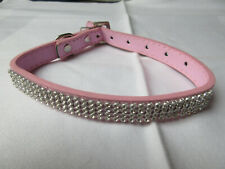 Pet Collar - light pink faux leather with diamante rhinestones - medium