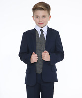 Boys Suits, Boys Check Suits, Page Boy Wedding Prom Formal Suit, Boys Navy Suit