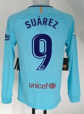 BARCELONA 2017/18 L/S AWAY SHIRT SUAREZ 9 BY NIKE SIZE ADULTS SMALL BRAND NEW