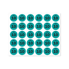 "Size 10 Sticker Retail Store Clothing Dress Apparel Wear Label (0.75"" Round,4PK)"