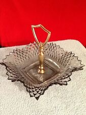 Vintage Smoky Black Hobnail Candy Dish With Handle