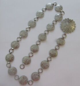 """Woman's Chain belt- silver color circular links with flowers- 33"""" long"""
