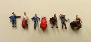 6 Preiser Painted Figures HO 1/87 Scale,Delivery Men With Loads