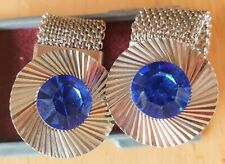 Vintage Mid Century Cuff-links Stainless Blue Stone Round New In Box