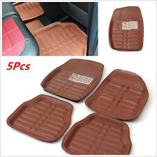 5Pc Brown Universal Car Floor Mats FloorLiner Front&Rear Carpet All Weather Mat
