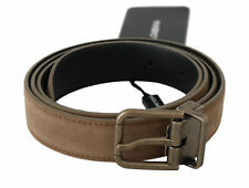 DOLCE & GABBANA Belt Brown Suede Leather Gold Buckle s. 100cm / 40in RRP $360