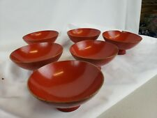 Nice set of 6 vintage Japanese lacquerware bowls 4