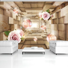 BILD POSTER WANDBILD TAPETEN ABSTRAKTION FOTO NATUR ROSA HOLZ 3D ROSE  3FX3358P4