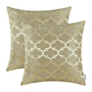 2Pcs CaliTime Gold Pillows Shells Cushion Covers Quatrefoil Accent Home 50x50cm