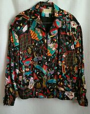 ALBERTO MAKALI Rare Women's Sz M Zipper Silk Jacket Circus Carnival Themed