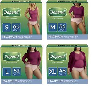 Depend FIT-FLEX Women's Incontinence Underwear Maximum Absorbency S/M/L/XL/XXL✔️