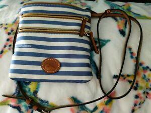 Dooney & Bourke Sullivan Blue White Stripe Three Zip Crossbody Long Strap