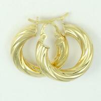 18k Yellow Gold Twisted Hoop Earrings, (NEW 18mm diameter, 4 mm thick, 2.2g)2659