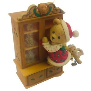 Vintage 1994 Lustre Fame Christmas Tree Ornament - Bear with Curio Cabinet