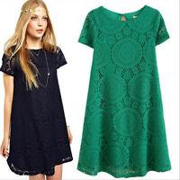 Women Summer Lace Short Sleeve Dress Evening Party Casual Mini Dress Blouse